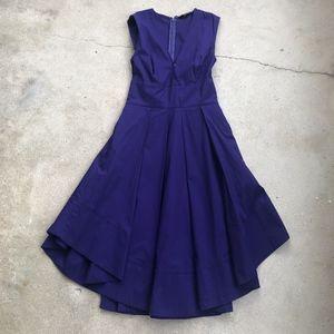 eShakti Sleeveless Scooped Hem Fit and Flare Dress